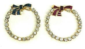 HOLIDAY Vintage Diamond Ruby Sapphire Bow Round