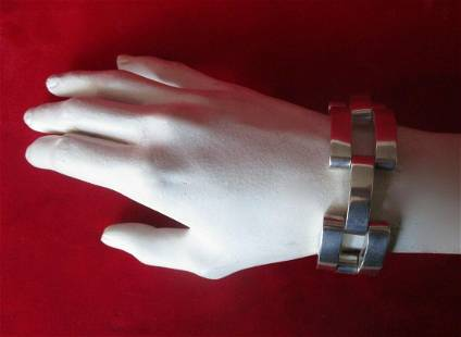 Vintage Sterling Silver Deco Chunky Bracelet