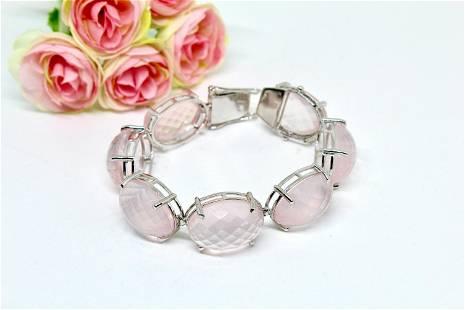 Rose quartz bracelet, Sterling Silver 925, Gemstone