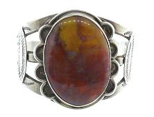 Vintage Sterling Silver Brown Moss Agate Bangle