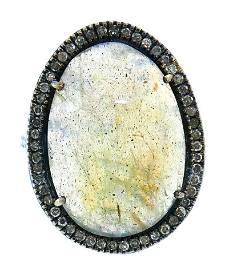 Sterling Silver Tous Dinah Labradorite Diamond Ring