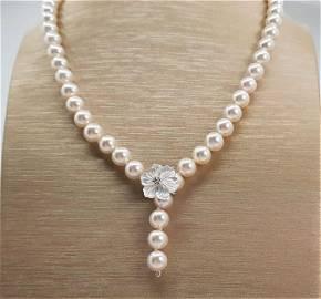 Top grade AAA 8x9mm Akoya Pearls - 925 Silver -