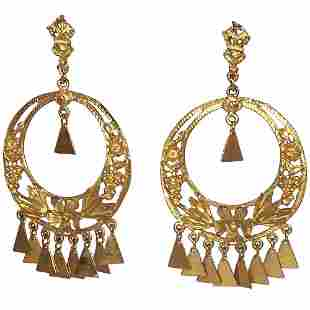 Mexican Floral Circular Hoop Dangle Chandelier Earrings