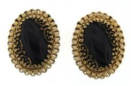 LOVELY Hobe Gold Plated & Onyx Clip On Earrings Circa