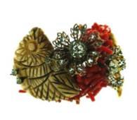 MIRIAM HASKELL Coral, Gold Plate & Rhinestone Bracelet
