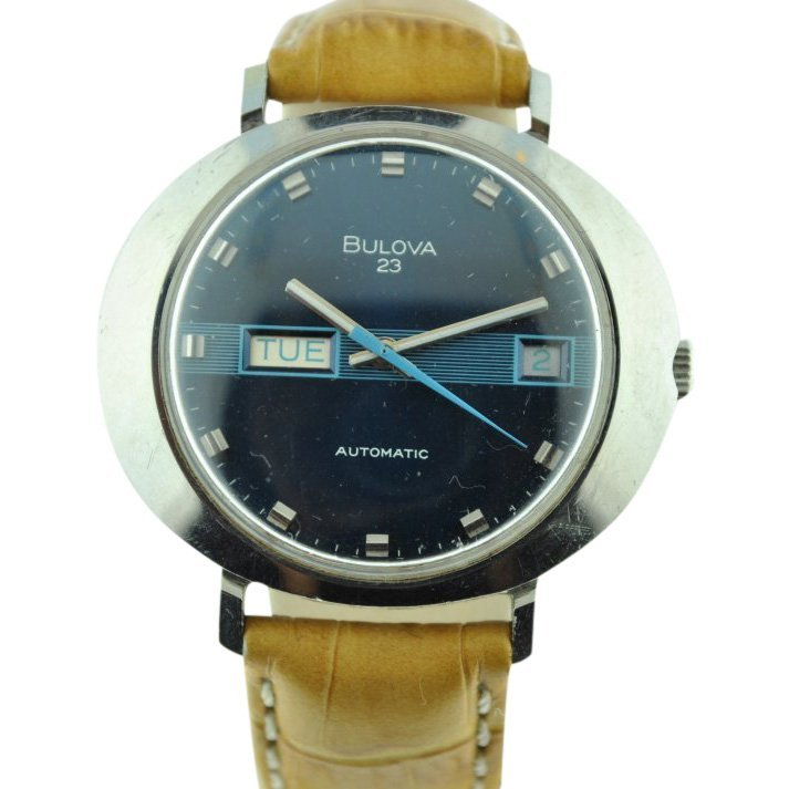 Bulova Automatic Date Two Tone Blue Dial Watch, 1970's