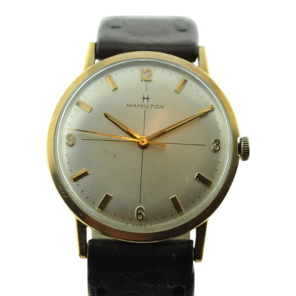 Hamilton Manual Wind Silver Leather Watch, 1960's
