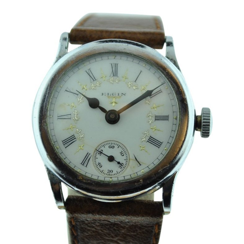 Elgin Multicolored Porcelain Dial Watch