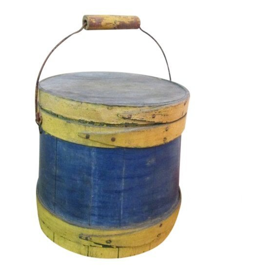Blue & Yellow Painted Small Firkin