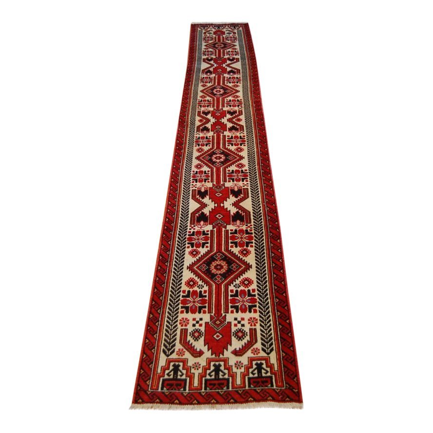 1930's Antique Rare Long Narrow Balouch Rug Runner