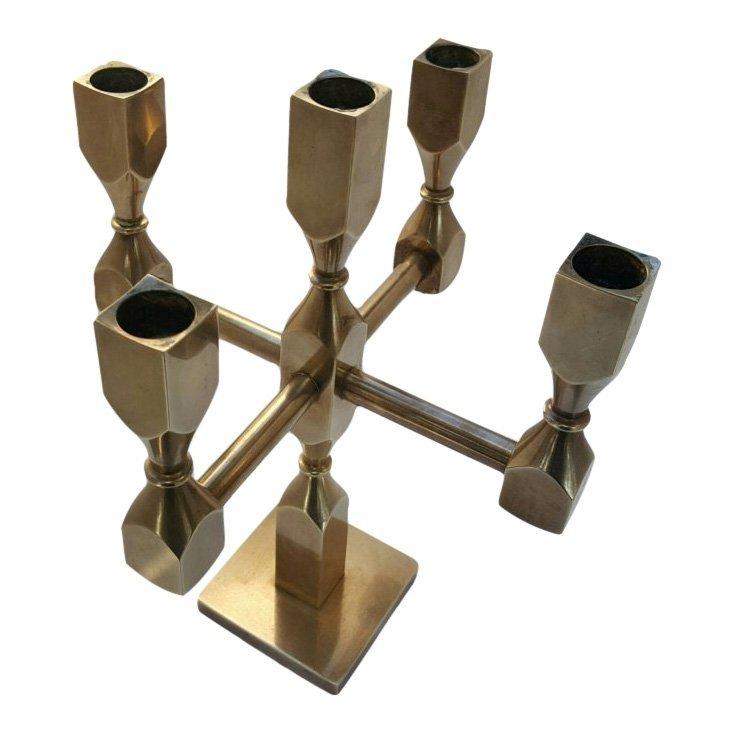 Swedish Brass Candelabra by Lars Bergsten