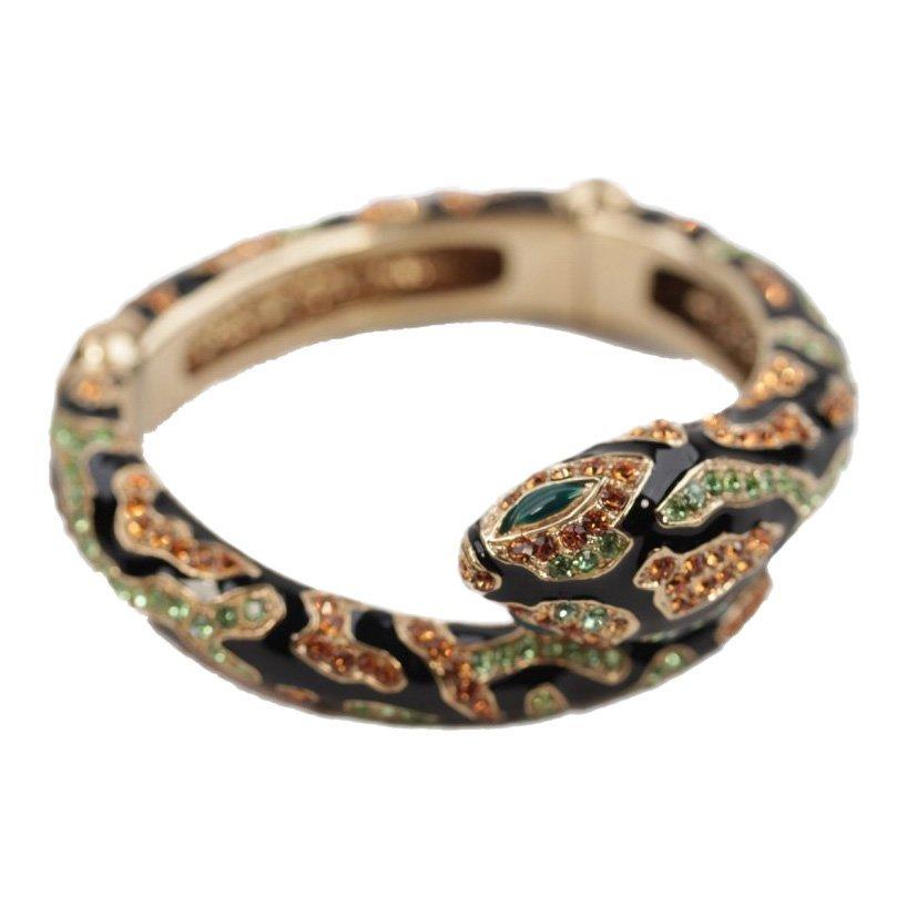 Roberto Cavalli Gold Enamel Rhinestone Snake Bracelet