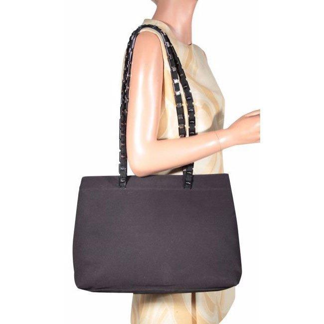 Salvatore Ferragamo Black Canvas Shoulder Tote Bag