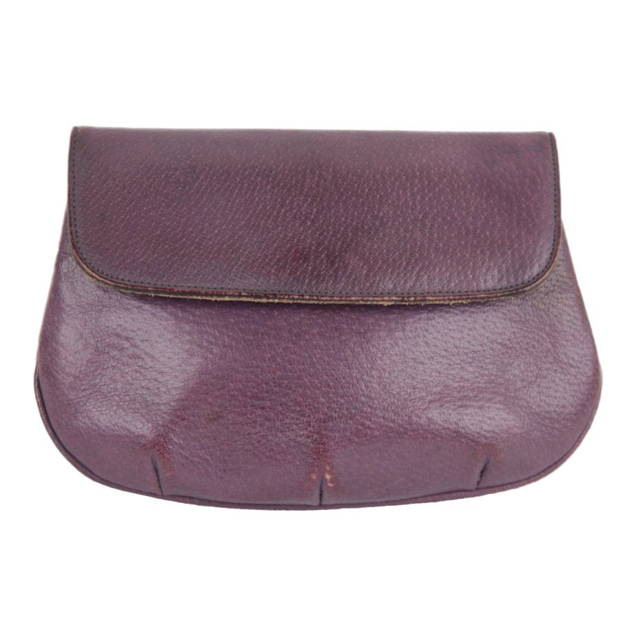 Gucci Vintage Italian Purple Leather Clutch Handbag