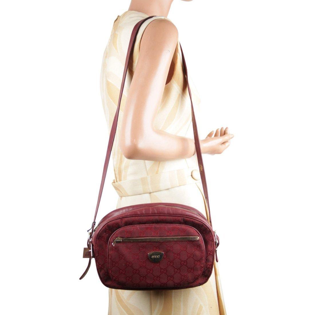 Gucci Italian Burgundy GG Monogram Canvas Shoulder Bag