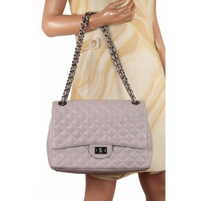 Italian Gray Quilted Leather Shoulder Flap Bag