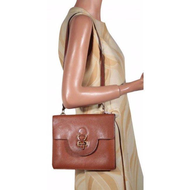 Hermes Paris Vintage 1960's Tan Leather Flap Bag