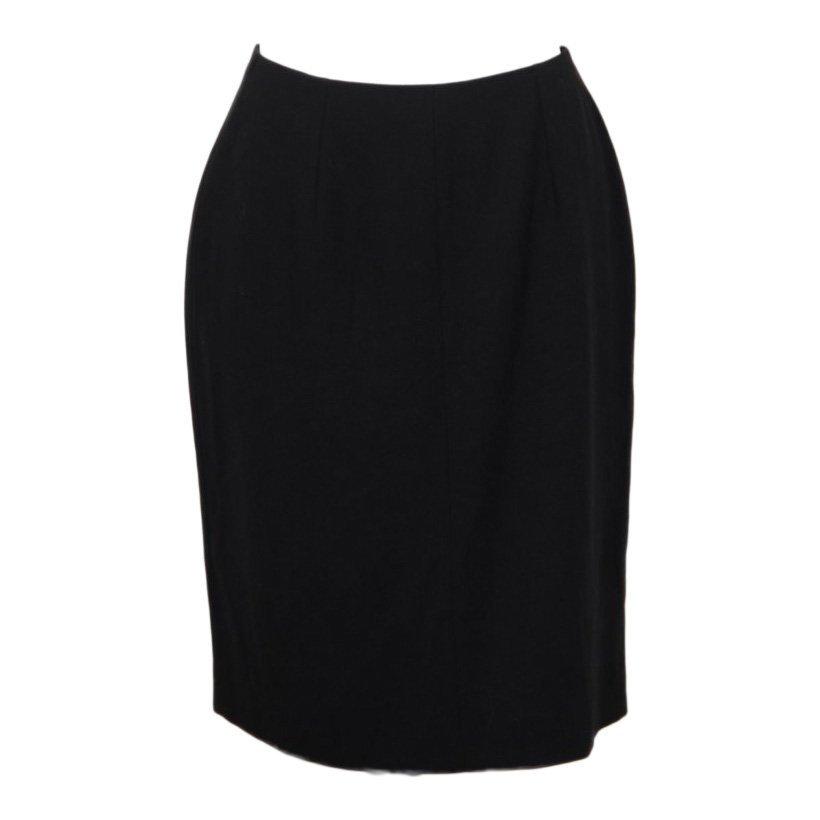 Emporio Armani Italian Black Viscose Wool Pencil Skirt