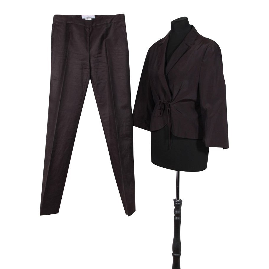 Max Mara Brown Silk & Cotton Dress Blazer & Trouser Set