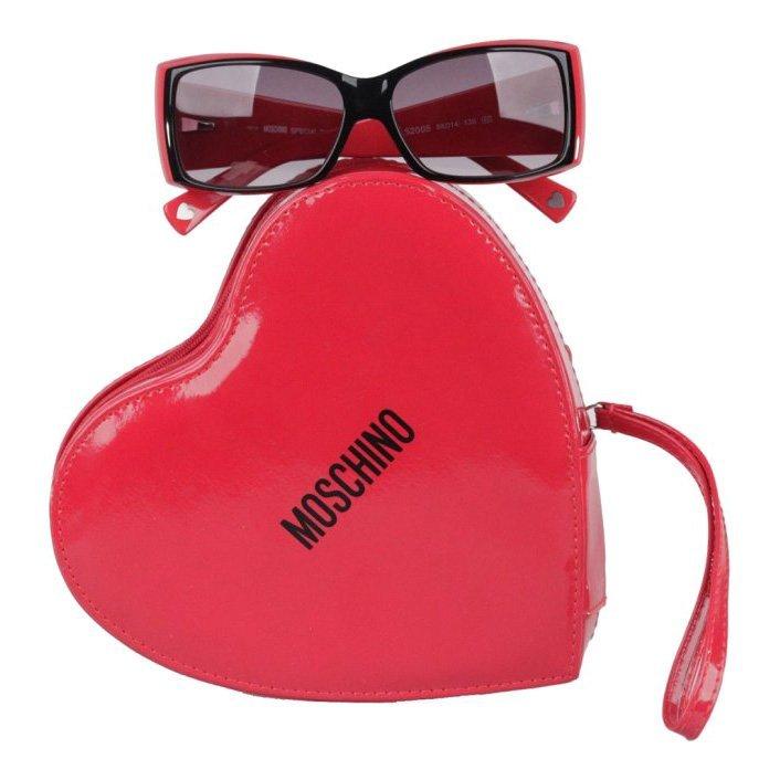 Moschino Black Swarovski Crystal Heart Sunglasses
