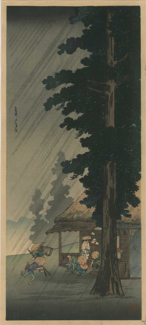Takahashi Shotei - Sudden Shower on Tokaido Road, 1936