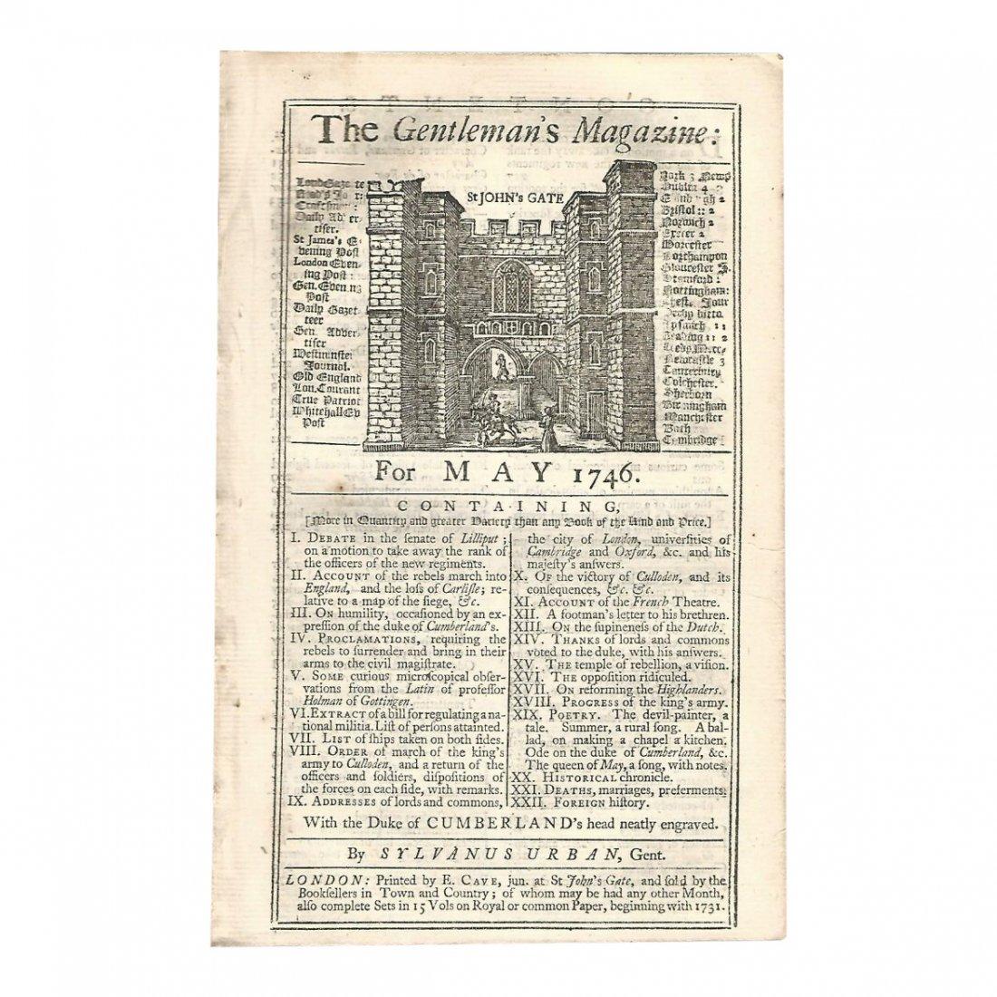 Gentleman's Magazine Battle of Culloden Carlisle, 1746