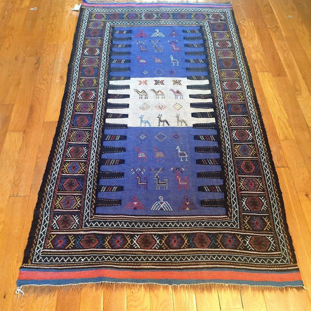 Semi-Antique Persian Killim Rug, 3x7 - 3