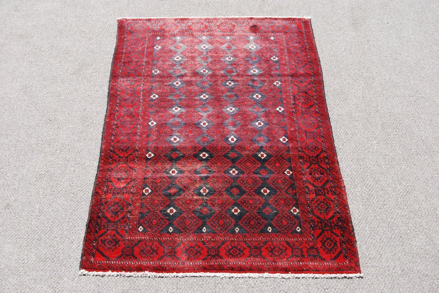 Rare Finely Knotted Persian Turkman Rug, 4x6 - 2