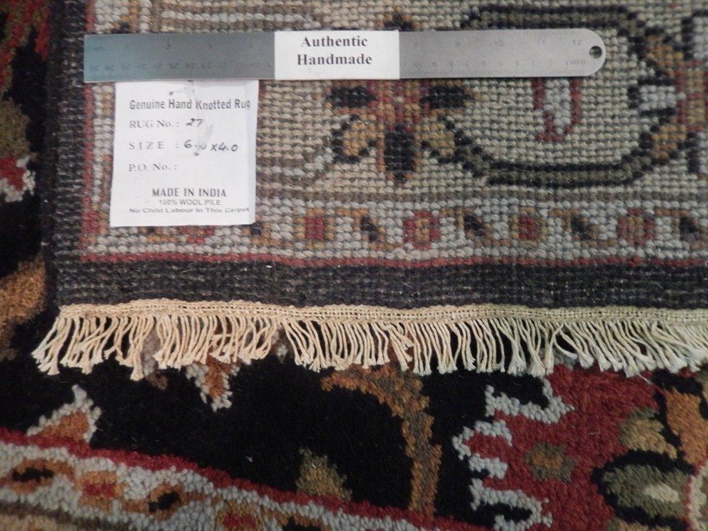 Black Traditional Persian Mahal Area Rug, 4x6 - 6