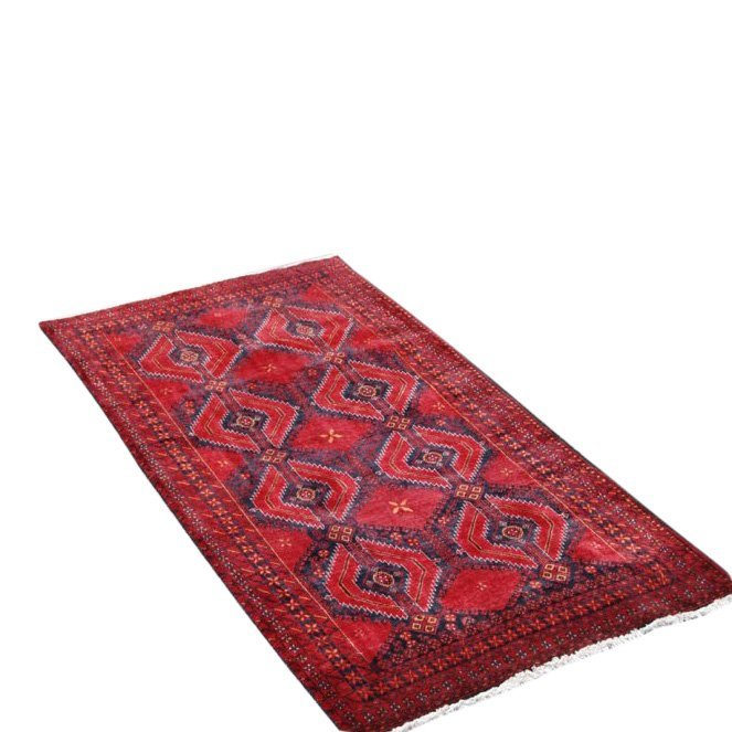 Symmetrical Design Persian Balooch Rug, 3x7