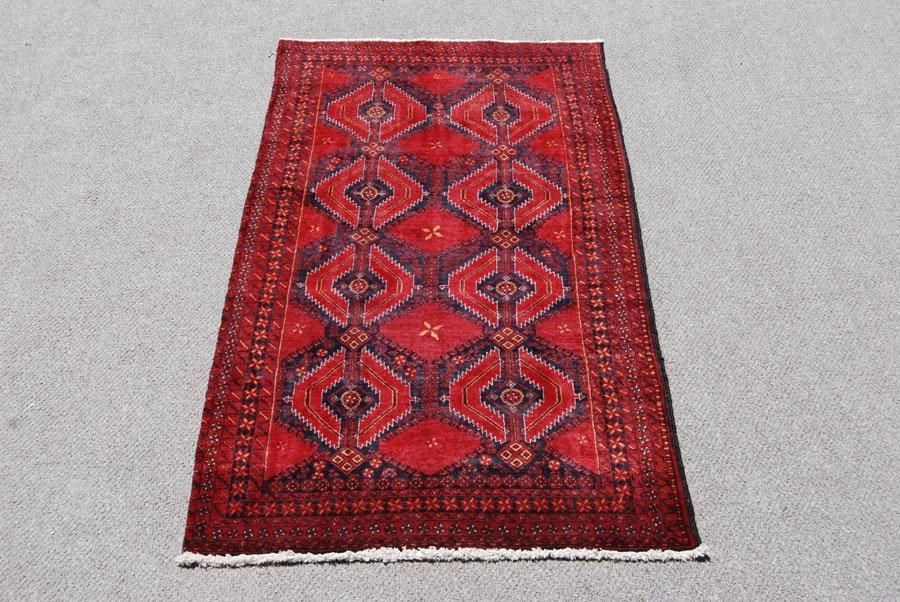 Symmetrical Design Persian Balooch Rug, 3x7 - 2