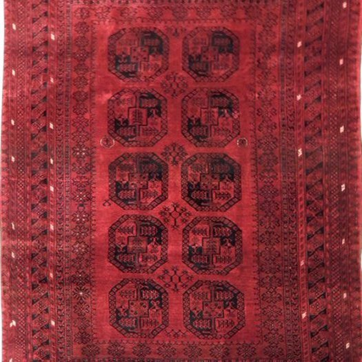 Semi-Antique Afghan Bokara Rug, 7x10