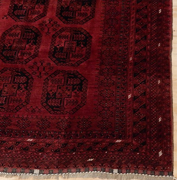 Semi-Antique Afghan Bokara Rug, 7x10 - 2