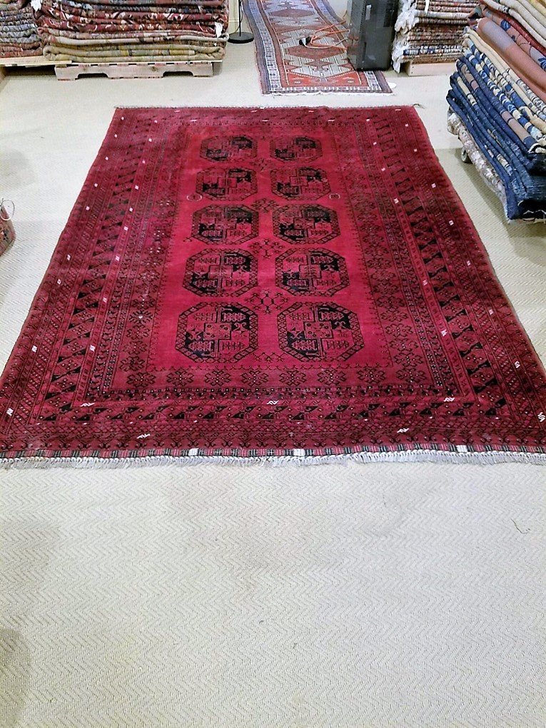 Semi-Antique Afghan Bokara Rug, 7x10 - 4
