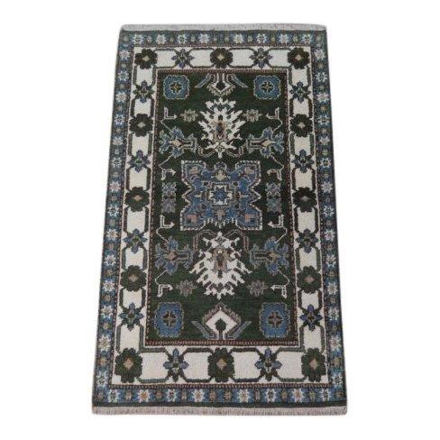 Green Traditional Kazak Geometric Rug, 3x5