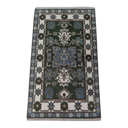 Green Traditional Kazak Geometric Rug, 3x5