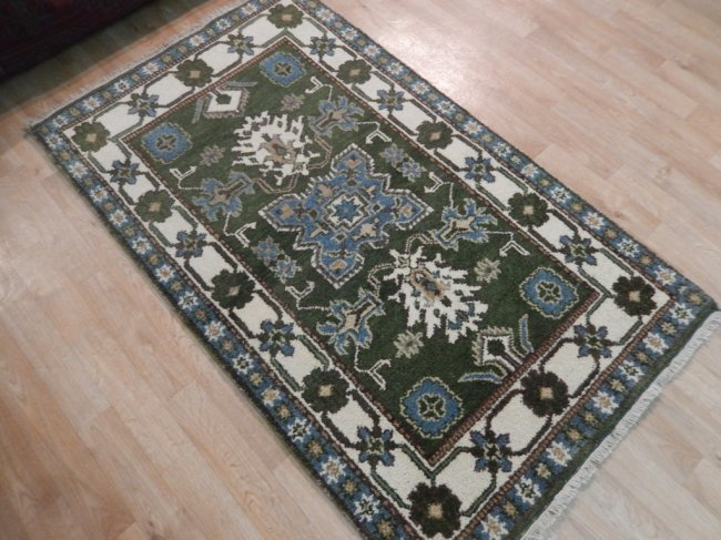 Green Traditional Kazak Geometric Rug, 3x5 - 3