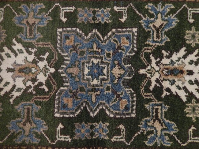 Green Traditional Kazak Geometric Rug, 3x5 - 4