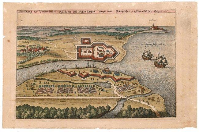 Swedish Fort in Pomerania. Merian, Matthäus