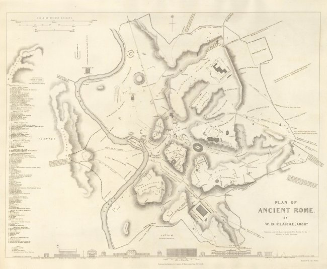 Plan of Ancient Rome. W. B. Clarke, J. Walker, C.