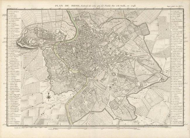 Plan de Rome, Voyage en Italie. Joseph Lalande.