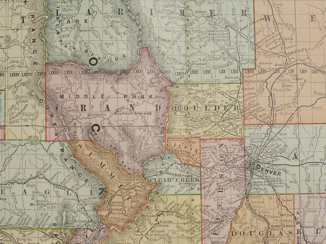 Map of Colorado, 1895 - 7