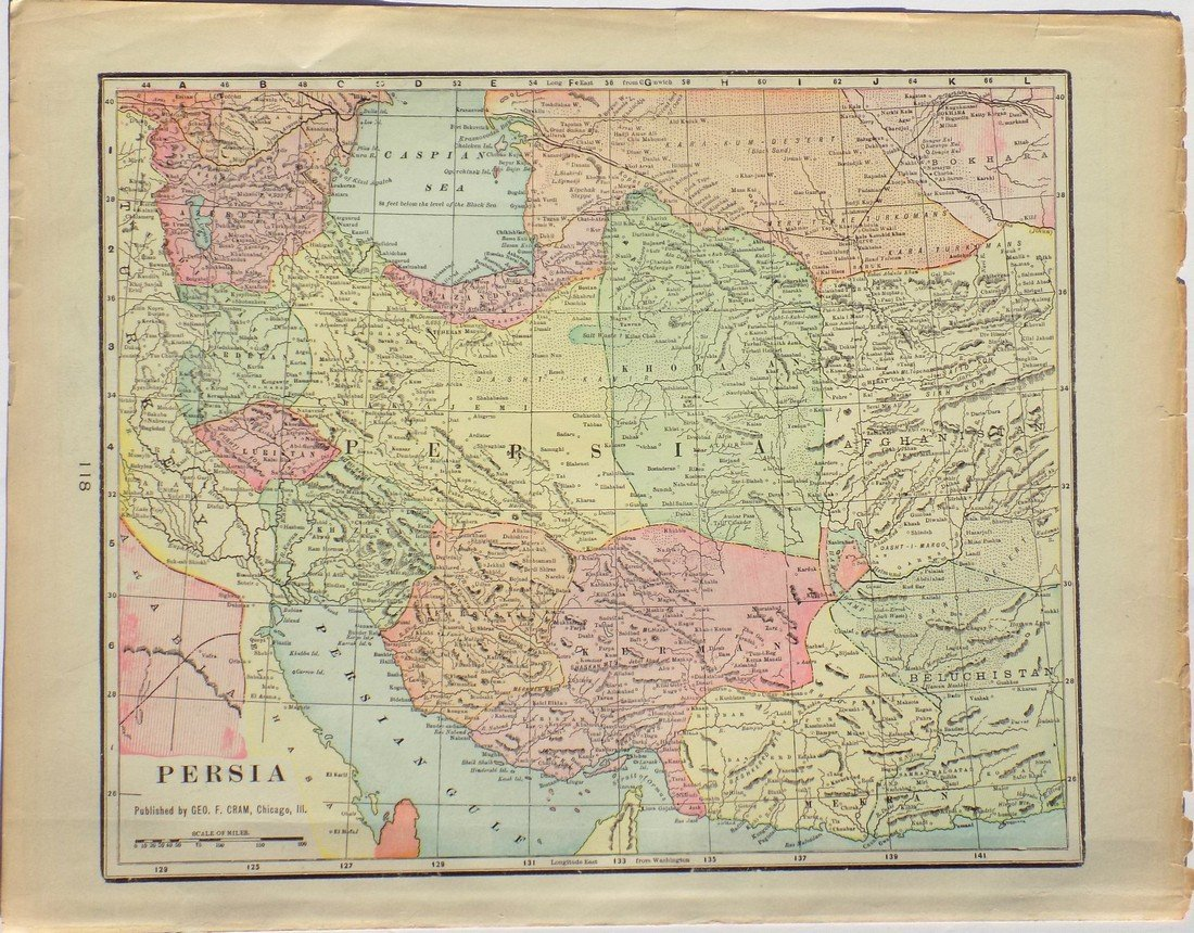 Map of Persia, 1902