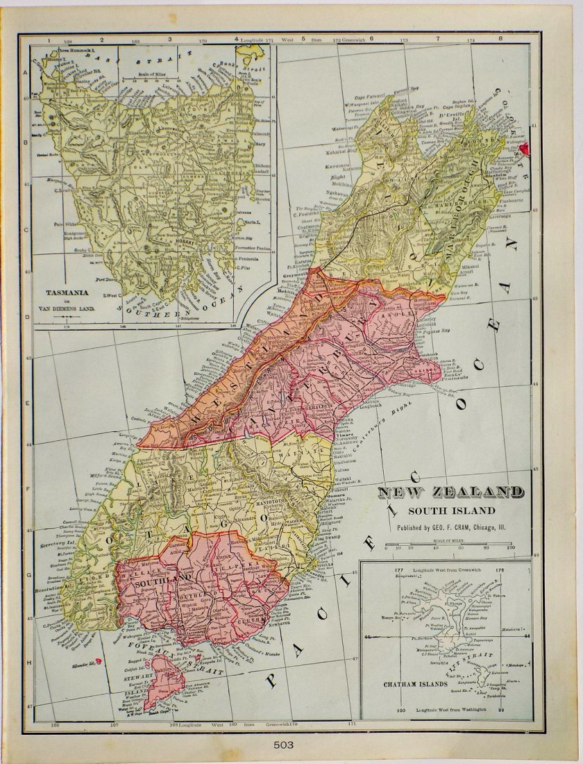 Map of New Zealand, South Island, 1902