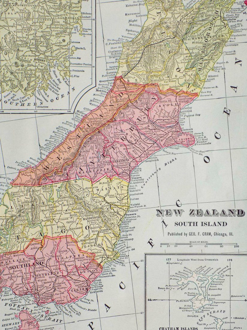 Map of New Zealand, South Island, 1902 - 2