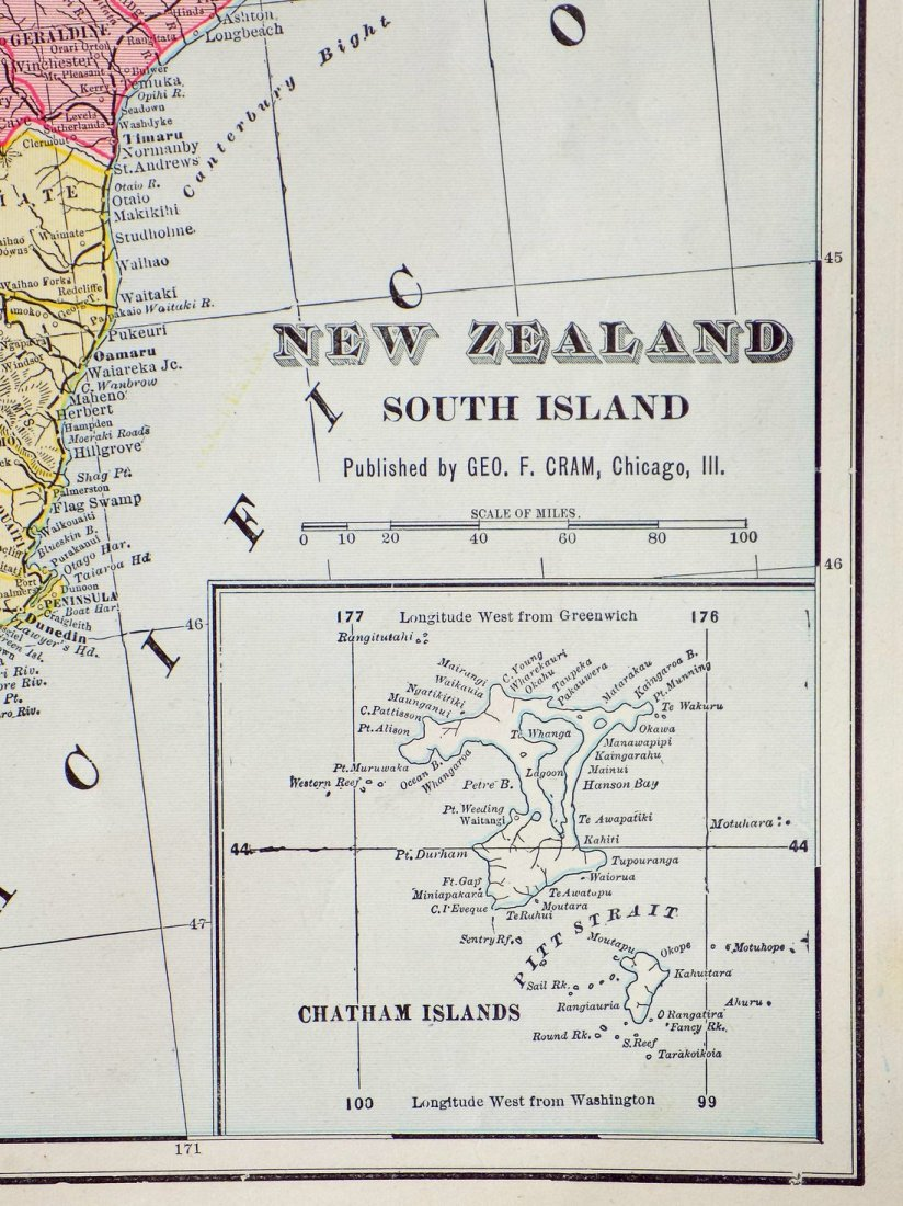 Map of New Zealand, South Island, 1902 - 5