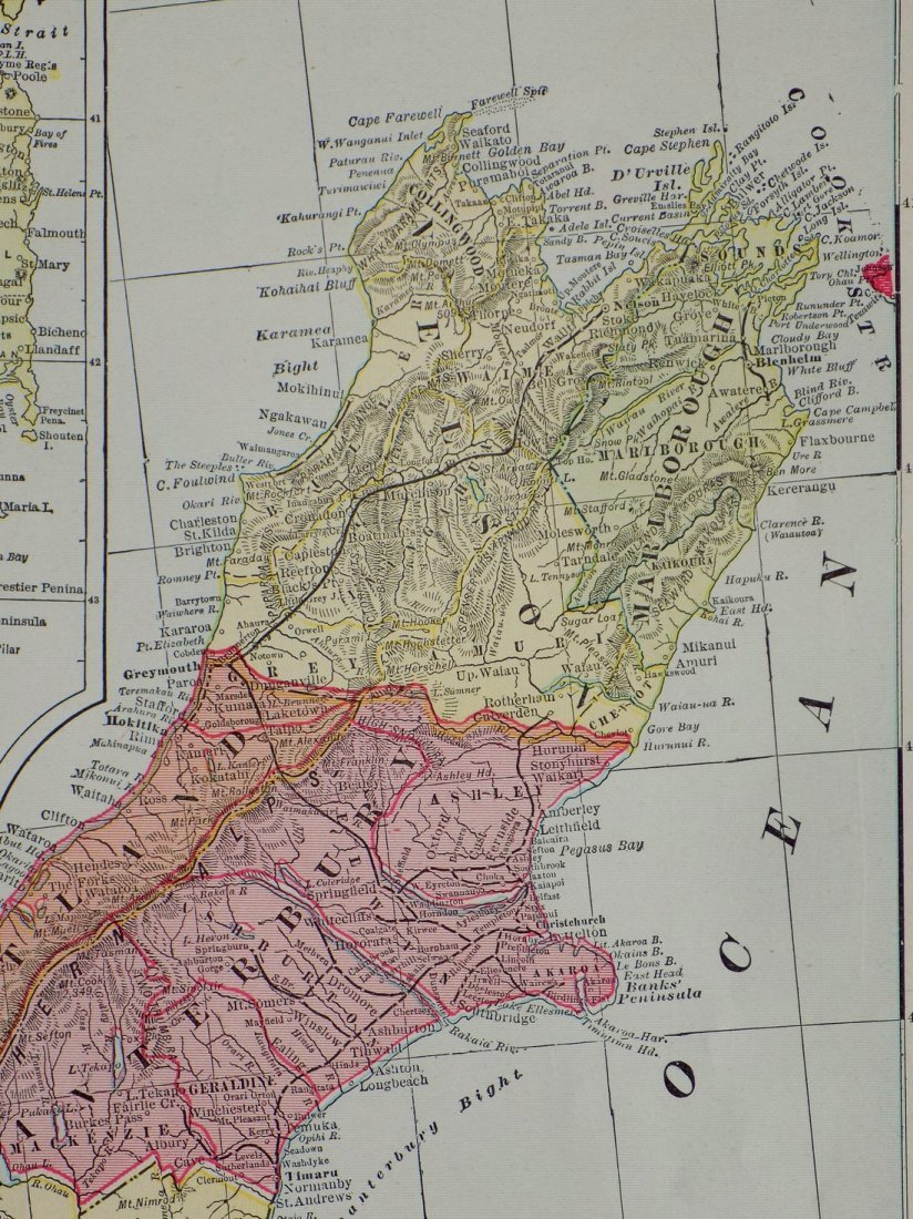 Map of New Zealand, South Island, 1902 - 6