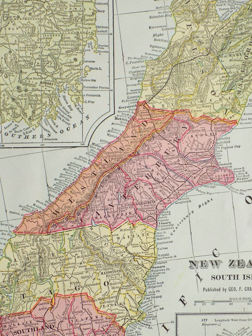 Map of New Zealand, South Island, 1902 - 7