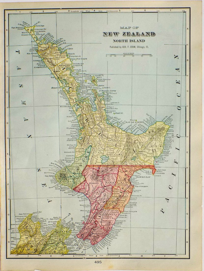Map of New Zealand, North Island, 1902