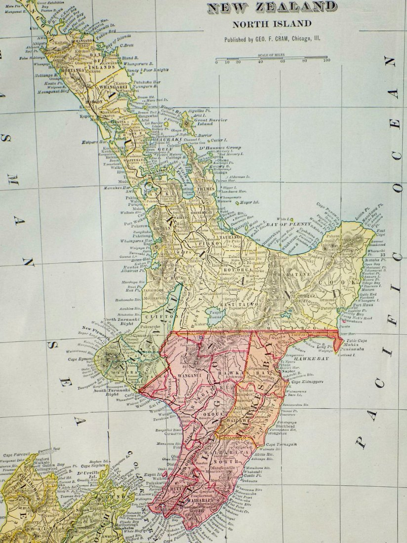 Map of New Zealand, North Island, 1902 - 2
